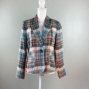 Bloomingdales Plaid Jacket Blazer Size 8